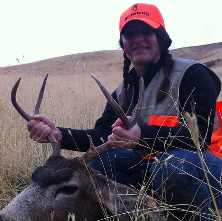 Shauna with her first buck at Deadman Creek